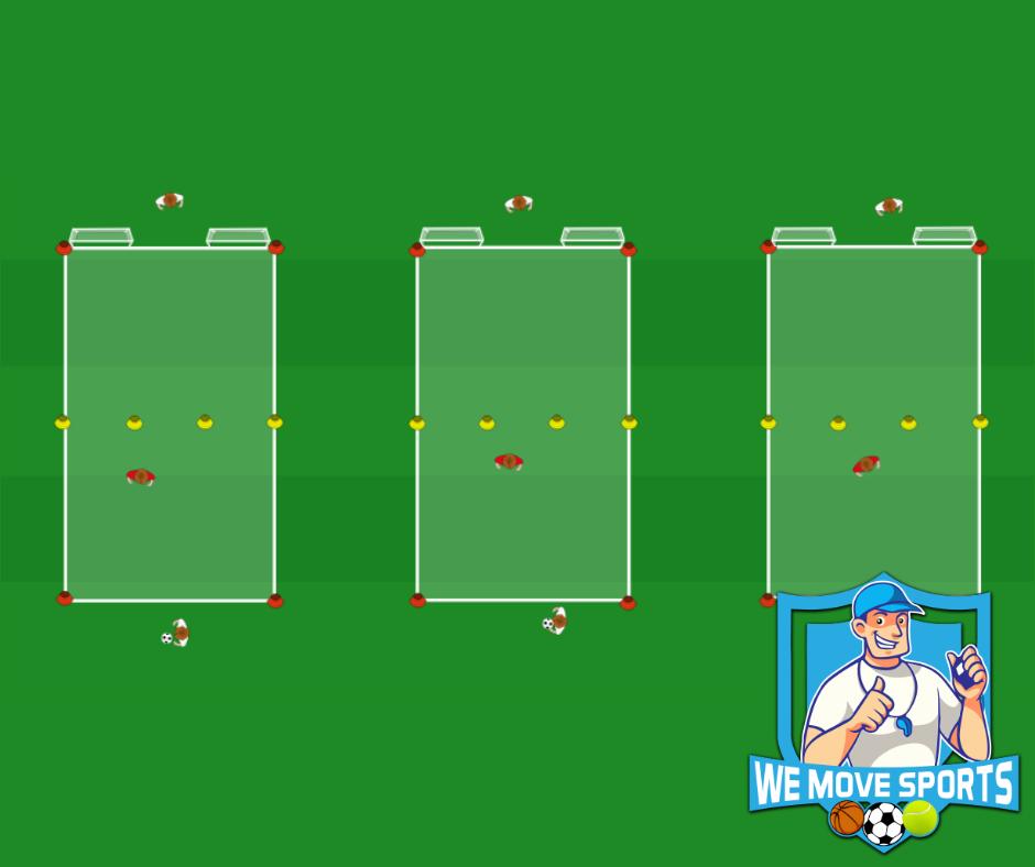 Grens oversteken met poortjes, een verdediger en schieten op twee doeltjes