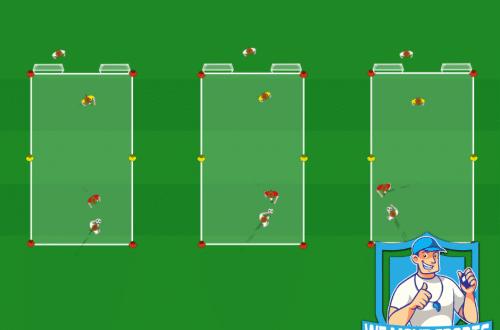 Grens oversteken met coach en schieten op mini doeltjes met keeper