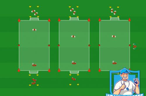 Voetbal oefeningen 1 tegen 1 verdedigen