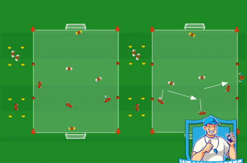 Voetbal oefeningen breed veld