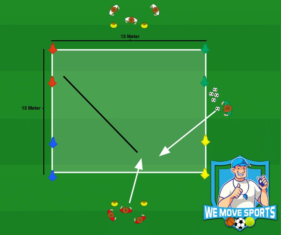 Voetbal oefeningen dribbelen met de bal