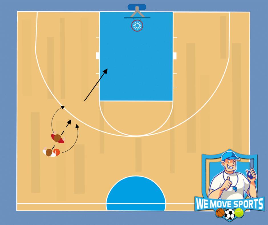 basketbal oefening 1 tegen 1 door de benen