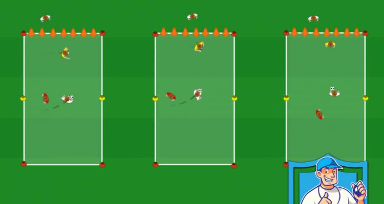 Grens oversteken met één verdediger en schieten op pionnen met keeper